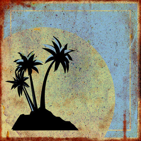 three palm trees: Vintage rusty square plate with three palm trees