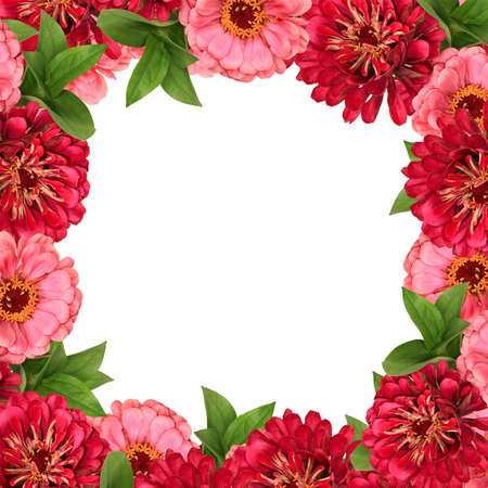 Decorative square floral frame with pink and red flowers Stock Photo