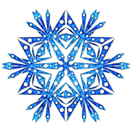 iceflower: Beautiful blue snowflake close up isolated on white background