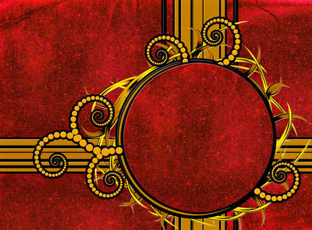 Abstract retro background with round gold frame photo