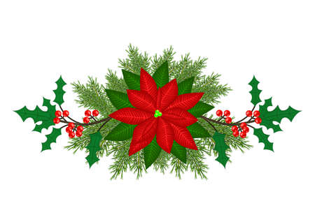 Christmas horizontal element with poinsettia isolated on white background photo