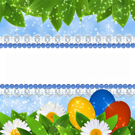 Easter background with lace ribbon for an inscription, three eggs and grass Stock Photo