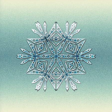 Square frosty winter background with big snowflake