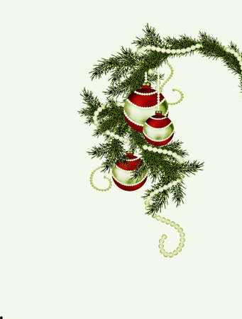 Fur-tree branch with three Christmas balls on yellow background photo
