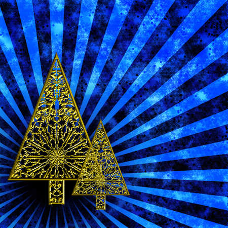 Blue background with two yellow gold stylized Christmas trees