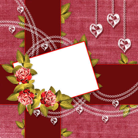 Pink and red background with a card and flowers photo