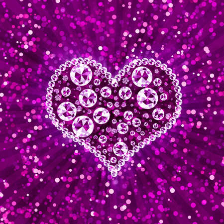Pink abstract background with sparkle and crystal heart photo