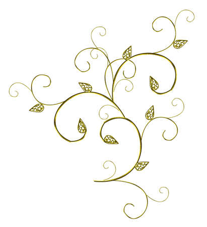 Gold decorative element isolated on a white background