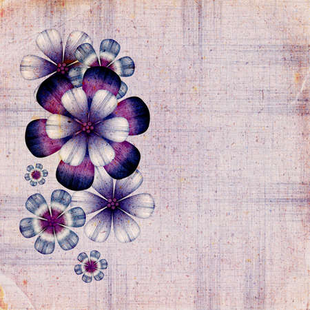 inky: Illustrated retro background with decorative abstract flowers Stock Photo