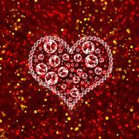 corazon cristal: Red abstract background with sparkle and crystal heart Foto de archivo