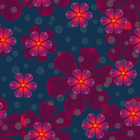 Illustrated seamless background with abstract floral pattern Stock Photo