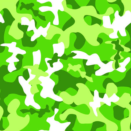 Illustrated abstract seamless pattern in green colors