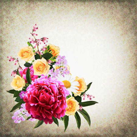 Retro background with a bunch of different summer flowers Stock Photo