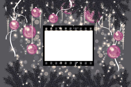 gray strip: Christmas sparkling gray background with pink balls and film strip Stock Photo