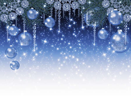 Christmas sparkling background with garlands and balls Stock Photo