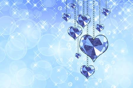 corazones azules: Garland con los corazones azules sobre un fondo abstracto