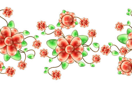 Illustrated floral seamless border isolated on a white background Stock Photo