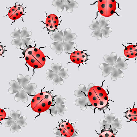 Seamless illustrated gray pattern with red ladybugs Stock Photo