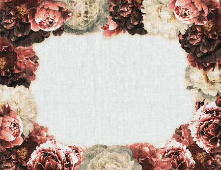 Decorative vintage frame with blossoming different peonies