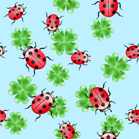 seamless clover: Seamless illustrated abstract pattern with ladybugs and clover Stock Photo
