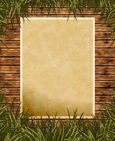 Illustrated old paper on wooden background with grass
