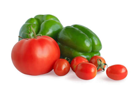 Fresh pepper and tomatoes isolated on a white background