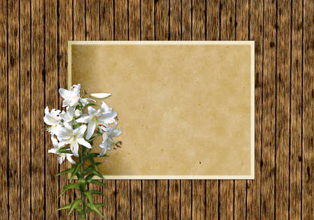 Ancient wooden background with white lilies and old paper