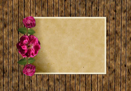 Ancient wooden background with red roses and old paper