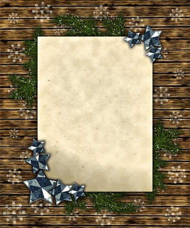 Christmas wooden background with page of a paper, fur-tree branches and stars