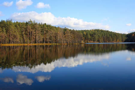 Natural landscape of wild lake in autumn day