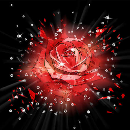 splinters: Abstract dark background with exploding red rose