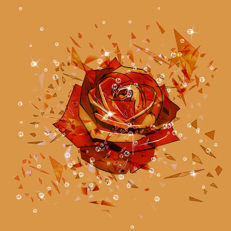 red rose: Abstract orange background with exploding red rose