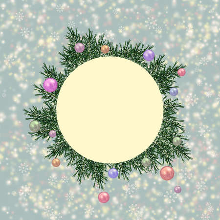 Illustrated christmas round frame with fur-tree branches on an abstract background