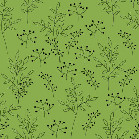 Illustrated seamless green background with the stylized plants
