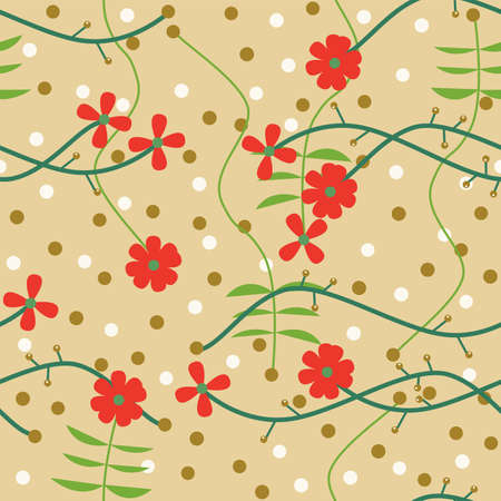 Illustrated seamless abstract floral background in retro style