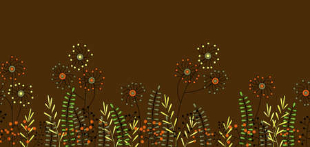 Illustrated seamless flower border isolated on a brown background Stock Photo