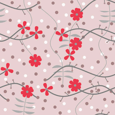 Illustrated seamless abstract floral background in red tone