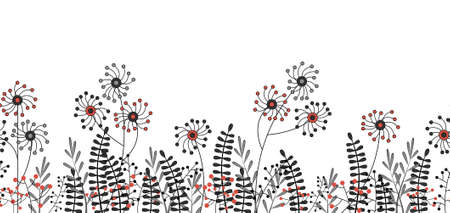 Illustrated seamless flower border isolated on a white background