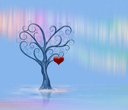 A lonely tree with a heart on the background of northern lights Stock Photo