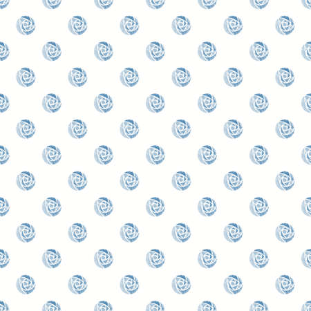 Illustrated seamless background with blue roses mackintosh on white Standard-Bild