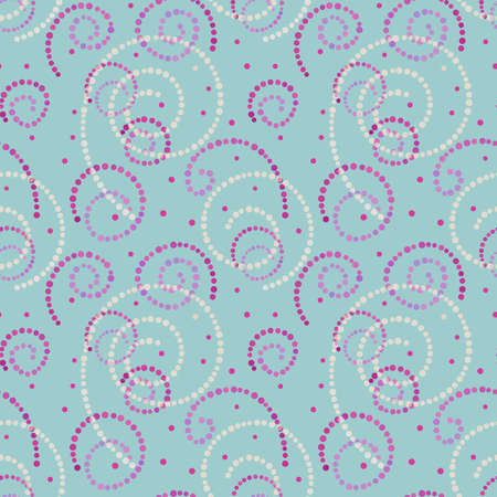 Illustrated abstract seamless  mint background with pink and white spirals Stock Photo