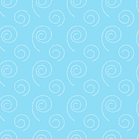 Abstract seamless blue background with white spirals of dots