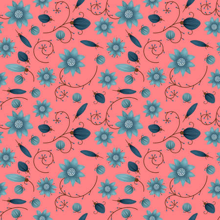 Illustrated abstract seamless floral background, blue and pink