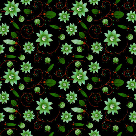 Illustrated abstract seamless floral background, green on black background