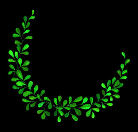 Illustrated green abstract wreath with leaves on black background
