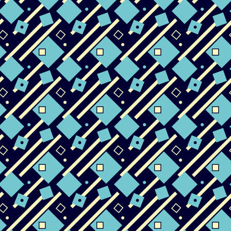 Illustrated seamless geometric background, blue and yellow