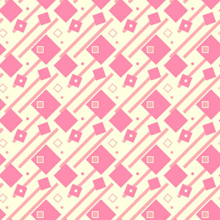 Illustrated seamless geometric background, pink on yellow,  light coloured