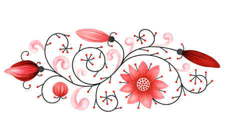 Illustrated decorative red floral element isolated on white background