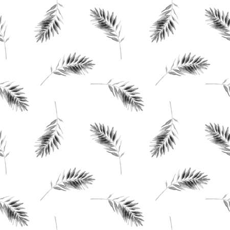 Abstract seamless pattern with gray leaves on a white background