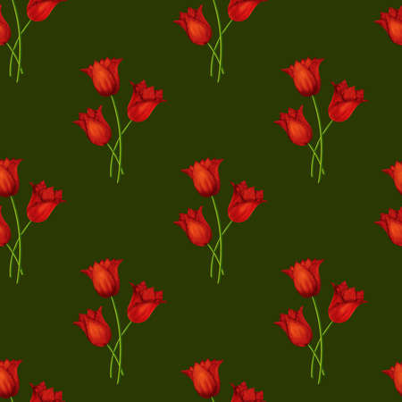 Illustrated seamless green background with bouquets of red tulips